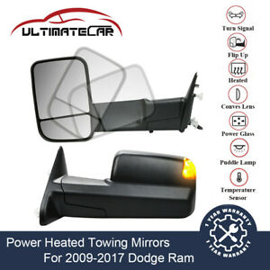 Pair Power Heated Towing Mirrors W Temp Sensor For 09 17 Dodge Ram Puddle Light