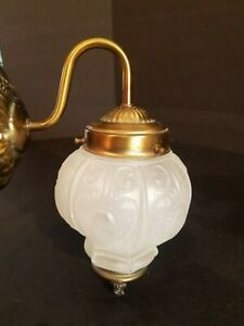 Vintage Antique Brass Wall Light Sconce With Frosted Globe