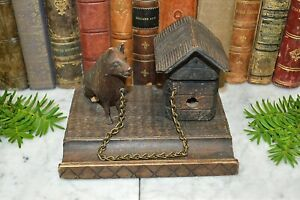 Antique German Black Forest Carved Wood Inkwell Dog And Dog House