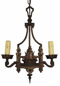 Antique French Bronze Ship Figural Chandelier Nautical Gorgeous Rewired