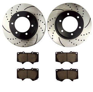 Fits 2005 2014 2015 2016 2017 Toyota Tacoma Front Drilled Brake Rotors And Pad