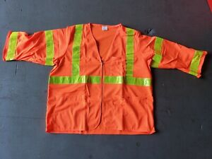 Safety Vest W Pockets Orange Class 3 High Vis For Construction Surveying 10pc