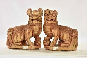 Pair Antique Chinese Wood Carved Statue Of Animal Fu Foo Dog Lion