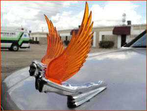 New Chrome Flying Goddess Hood Ornament With Amber Lighted Wings Jig Saw Wing