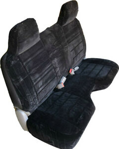 Triple Stitched Thick Black Bench Seat Cover Large Notched Cushion Custom Fit