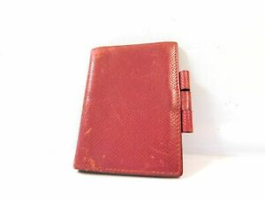 Hermes Mini Name Card Memo Diary Case Business Pass Id Wallet Leather Red