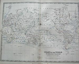 1868 Large Victorian Map Chart Of The World On Mercators Projection