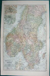 1901 Large Victorian Map Norway And Sweden Inset Christiania Stockholm