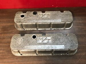 Vintage M T Mickey Thompson Bbc Big Block Chevy Finned Valve Covers Pair 619