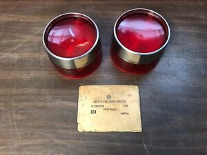 1958 Plymouth Tail Light Lamp Lenses W Bezels Pair Nors Glo Brite 719