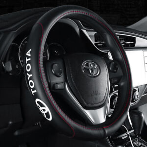 15 Car Steering Wheel Cover Genuine Leather For Toyota