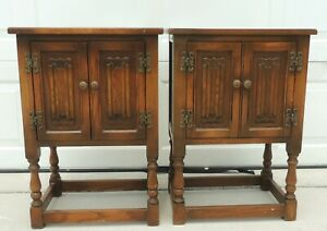 Pair Old Charm Wood Bros England Solid Oak Side End Tables Nightstands Cabinets