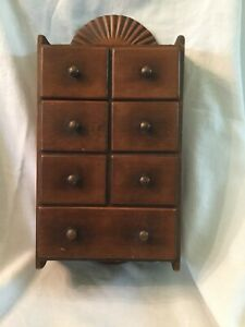 Vintage Solid Wood Apothecary Spice 7 Drawer Wall Cabinet Box Sun Ray Crest