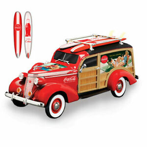 COCA-COLA Cruising To Refreshment Woody Wagon Sculpture by Hamilton Collection