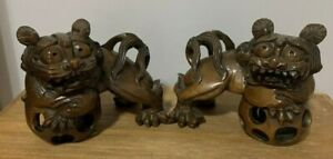 Rare Pair Of 19th Century Hand Carved Foo Dogs Floating Ball In Mouth