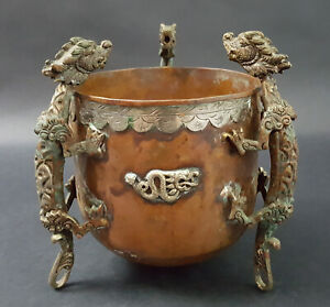 Antique Chinese Copper Incense Burner With Three Dragon Footed