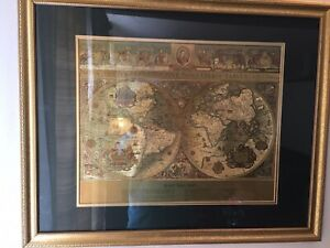 Vintage Teal Gold Foiled Blaeu Wall Map Of New World 30 X 25 Matted Framed