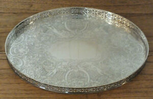 Vintage English Silver Plated On Copper Gallery Oval Serving Cocktail Tray