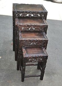 Solid Mahogany Vintage Oriental Set Of Four Nesting Tables Circa 1947 Wood