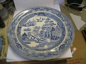 Antique Blue Willow 9 3 4 Inch Dinner Size Plate Marked Iron Stone China
