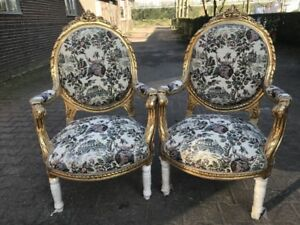 Antique Pair 2 Of French Louis Xvi Chairs