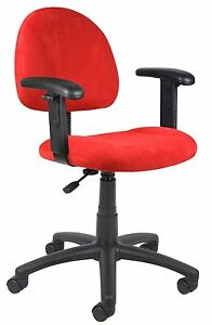 Boss Office Boss Red Microfiber Deluxe Posture Chair W Adjustable Arms B326 rd