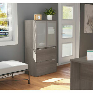 Bestar 2 Drawer Lateral File Cabinet Bark Gray 30 1 8 w X 18 3 16 d X