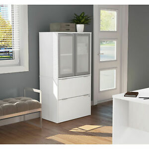 Bestar 2 Drawer Lateral File Cabinet White 30 1 8 w X 18 3 16 d X 56 13 16 h