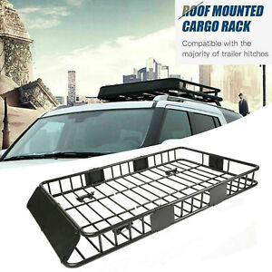 64 Universal Steel Roof Rack Cargo Carrier W Extension Luggage Hold Basket Suv