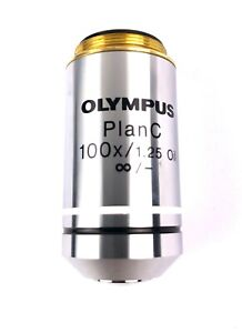 Olympus Microscope Objective Plan C 100x 1 25 Oil tested Refurbished