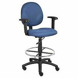 Drafting Stool With Contoured Back Footring Adjustable Arms Blue Lot Of 1
