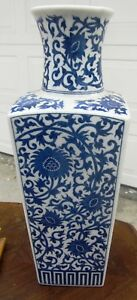 Large Fine Chinese Antique Porcelain Square Sided Vase China Blue And White