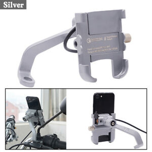 Silver CNC Scooter ATV Mirror Screw Phone Holder Mount Bracket + USB Charger 1x