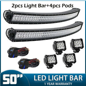 50 Curved Work Led Light Bar 4 Pods For Jeep Offroad Rhino Sandrail Boat Suv