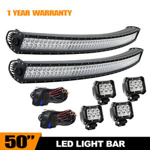 50 Curved Work Led Light Bar Fit For Jeep Offroad Rhino Sandrail Boat Suv