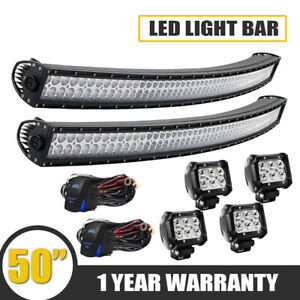 50 Curved Work Led Light Bar S F For Jeep Offroad Rhino Sandrail Boat Suv