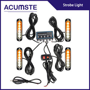 4pcs 6 Led Amber White Flash Lights Bar Car Truck Emergency Hazard Strobe Kit