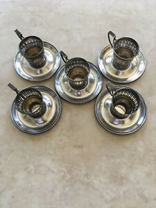 Gorham Sterling Silver Demitasse Cup Holders And Saucers A8022 A5550