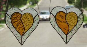 2 Hearts Genuine Stained Glass