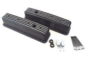 Chevy 350 383 Tall Alum Finned Center Bolt Vortec Valve Cover Black Bpe 2026b