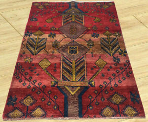 Semi Antique Hand Knotted Sherazi Sheraz Wool Area Rug 3 X 4 Ft