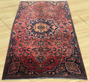 Semi Antique Hand Knotted Mashadi Wool Area Rug 4 X 6 Ft