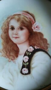 Antique Hand Painted Portrait Plate Signed 1877 Lovely Young Girl