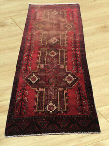 Semi Antique Hand Knotted Afghan Tribal Baloch Herati Wool Runner Rug 3 X 7 Ft
