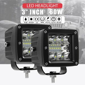 2pcs 3inch Cree Led Work Light Driving Work Fog Spot Light Flood 60w Cube Pods