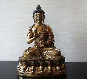 Extremely Rare Chinese Gilt Bronze Figure Of Shakyamuni Buddha Ming Dynasty