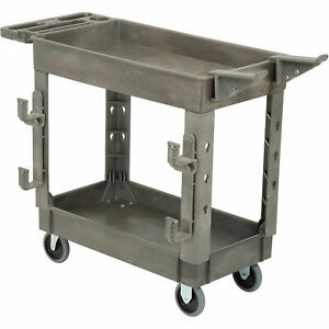 Plastic 2 Shelf Service Cart With Ladder Holder And Utility Hooks 38 l X