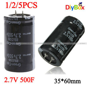 1 2 5pcs Two Feet Farad Capacitor 2 7v 500f Electrical Component Super Capacitor