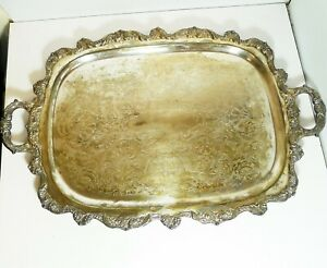 Vintage Poole Epca Old English Large Rectangular Silverplate Serving Tray 5041