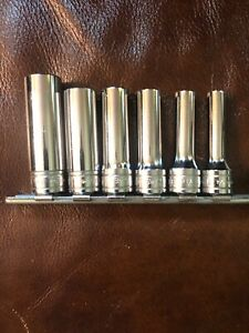 Snap On 6 Piece 3 8 Drive Deep 6 Point Socket Set Sae 1 4 9 16 By Sixteenths
